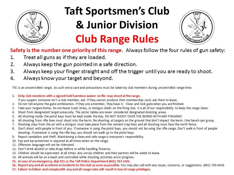 picture regarding Printable Gun Safety Rules identify Taft Sportsmens Club Internet